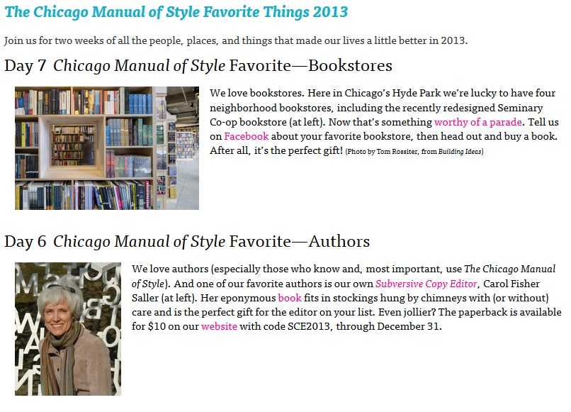 Chicago Manual of Style: 2013 Favorite Things
